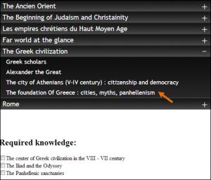 Figure 6 La liste des cases à cocher des connaissances correspondant à la  « Thématique spécifique Au fondement de la Grèce…» dans le menu déroulant