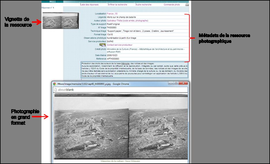 Figure 4 : Exemple de l'affichage visuel des informations d'une ressource sur la base Mémoire