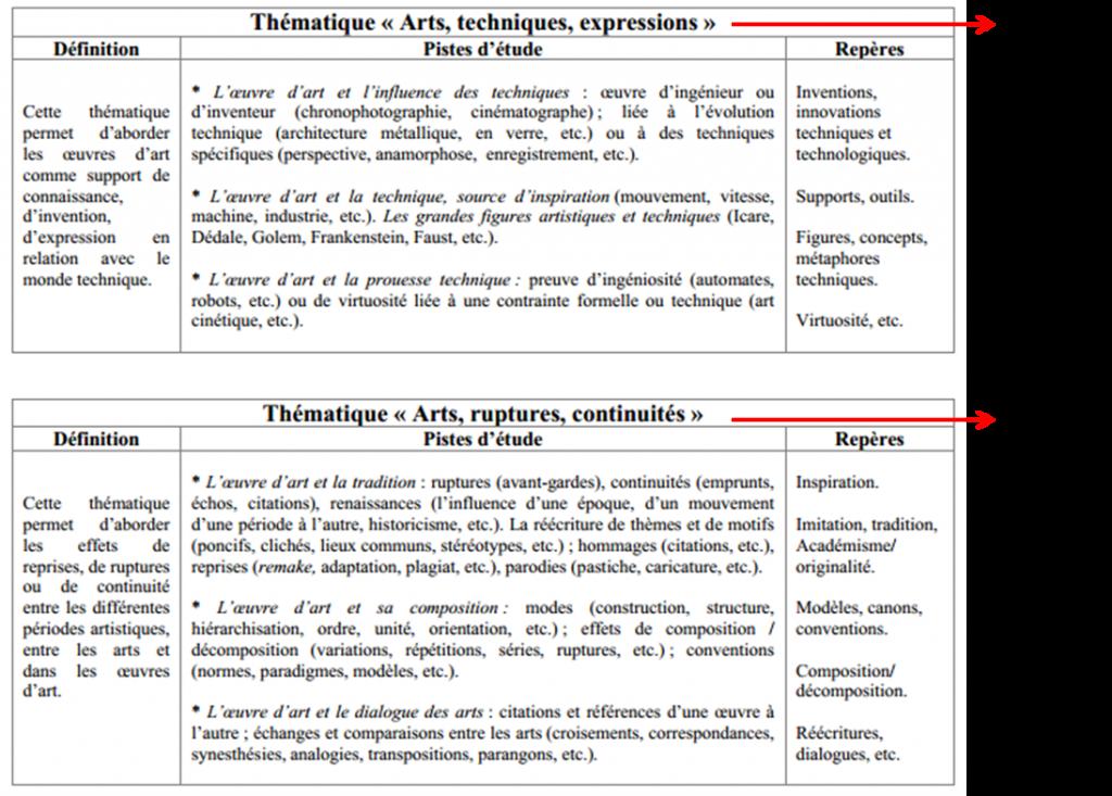 Tableau 2 Exemple de l'organisation des informations des thématiques au niveau Collège